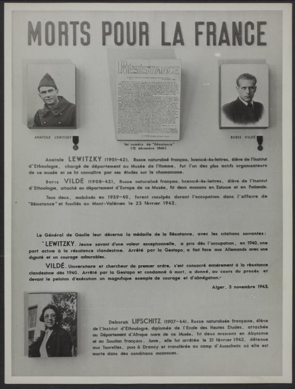 Mort pour la France [Hommage postume à Anatole Lewitzky, Boris Vildé et Deborah Lifschitz élèves à l'Institut d'Ethnologie].