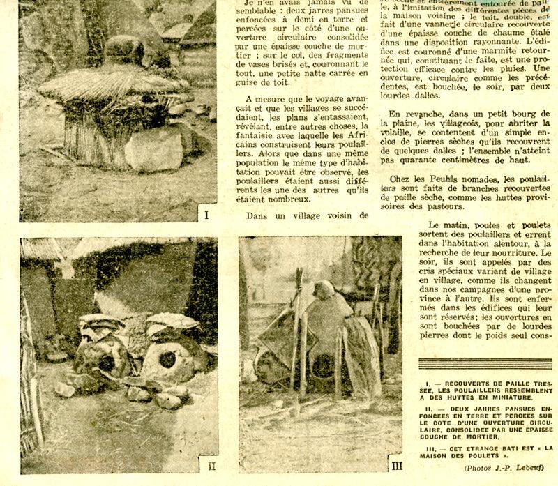 Trois photographies publiées dans  l'article de Jean-Paul Lebeuf, Poulaillers africains
