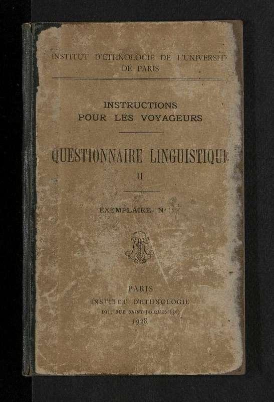 Couverture du questionnaire linguistique n°67.