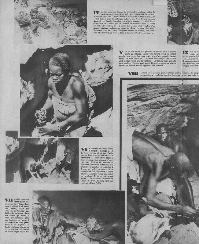 Pages centrales du reportage photographique d'Hélène Gordon, Dans les cavernes maudites des yapilu