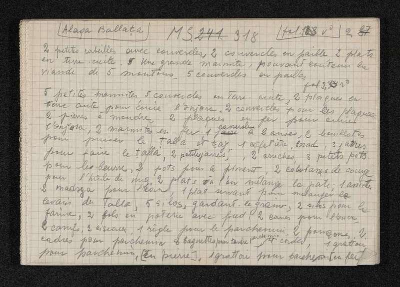 Ms 318   [a]       : Alaqa Ballata          : Compte des biens dans chaque maison… fol 1-35 (fiches 1-38)