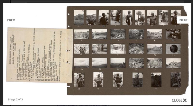 Planche contact et légendes de la pellicule 4 série Leica de Sahara-Cameroun