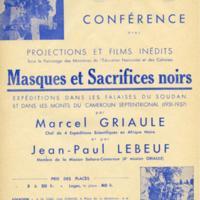 """Annonce conférence """"Masques et sacrifices noirs"""""""